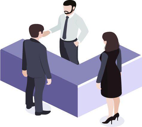 Vendedor e Clientes conversando